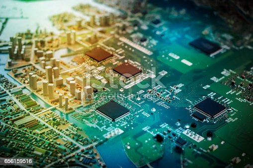 istock modern city diorama and electric circuit board, digital transformation, abstract image visual 656159516