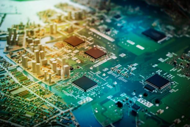 近代的な都市のジオラマや電子回路基板、デジタル変換、抽象的な視覚イメージ ストックフォト