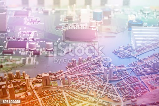 istock modern city diorama and electric circuit board, digital transformation, abstract image visual 656159558