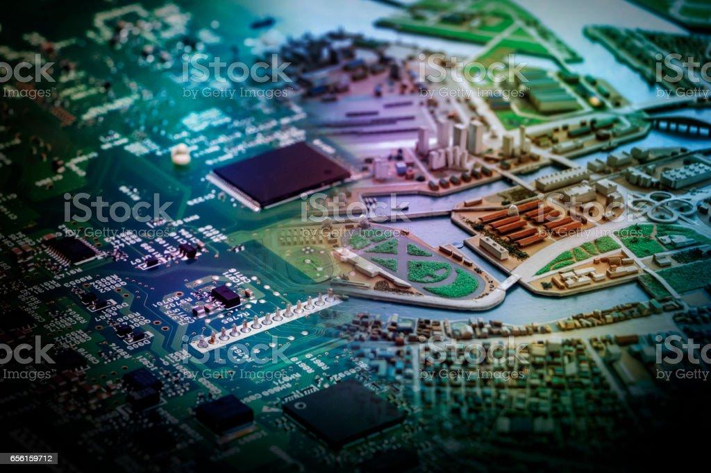 modern city diorama and electric circuit board, digital...