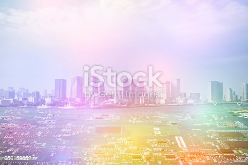 istock modern city diorama and electric circuit board, digital transformation, abstract image visual 656159852
