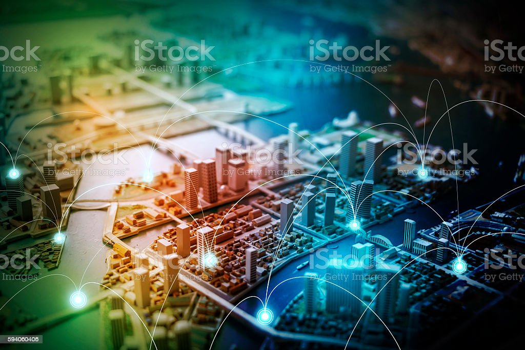 modern city diorama and wireless sensor network stock photo
