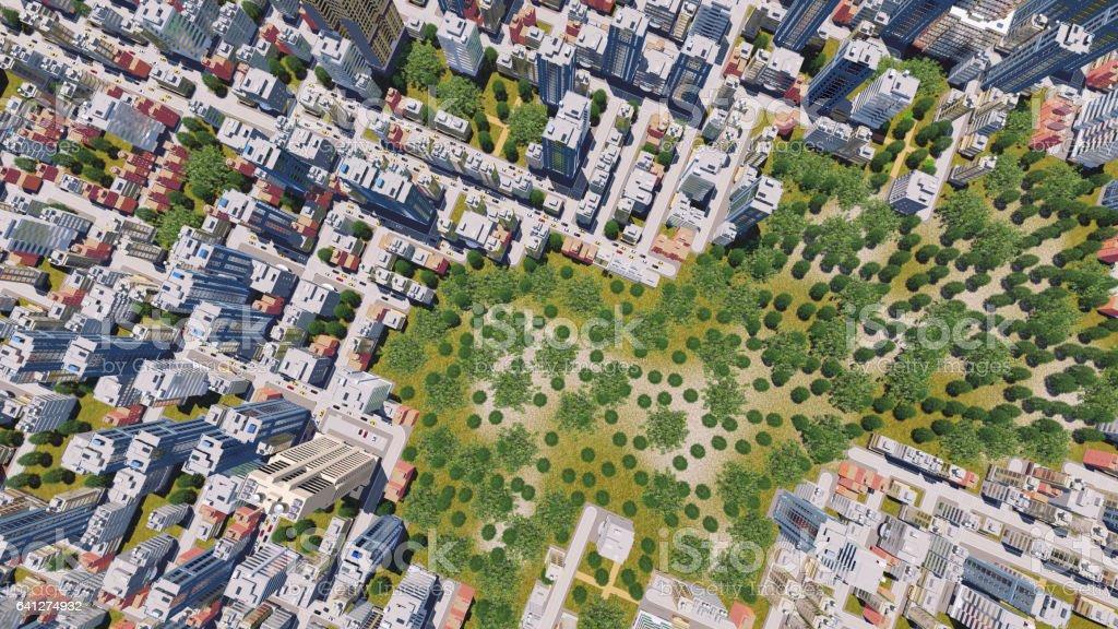 Modernen Stadtteil mit Park Zone Luftbild – Foto