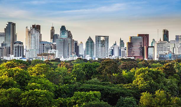 moderne stadt in einer grünen umgebung, suan-lum, bangkok, thailand - freistaat stock-fotos und bilder