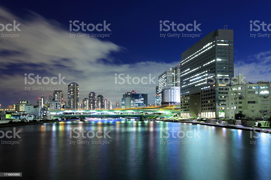 Modern city in tokyo at night royalty-free stock photo