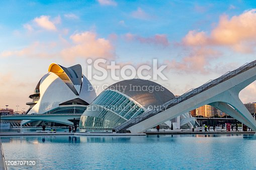 Valencia, Spain - January 4, 2019: Modern landmark  Ciudad de las Artes y las Ciencias. Designed by Santiago Calatrava and Félix Candela, the project was inaugurated on 16 April 1998 with the opening of L'Hemisfèric. Valencia welcomes more than 4 million visitors every year.