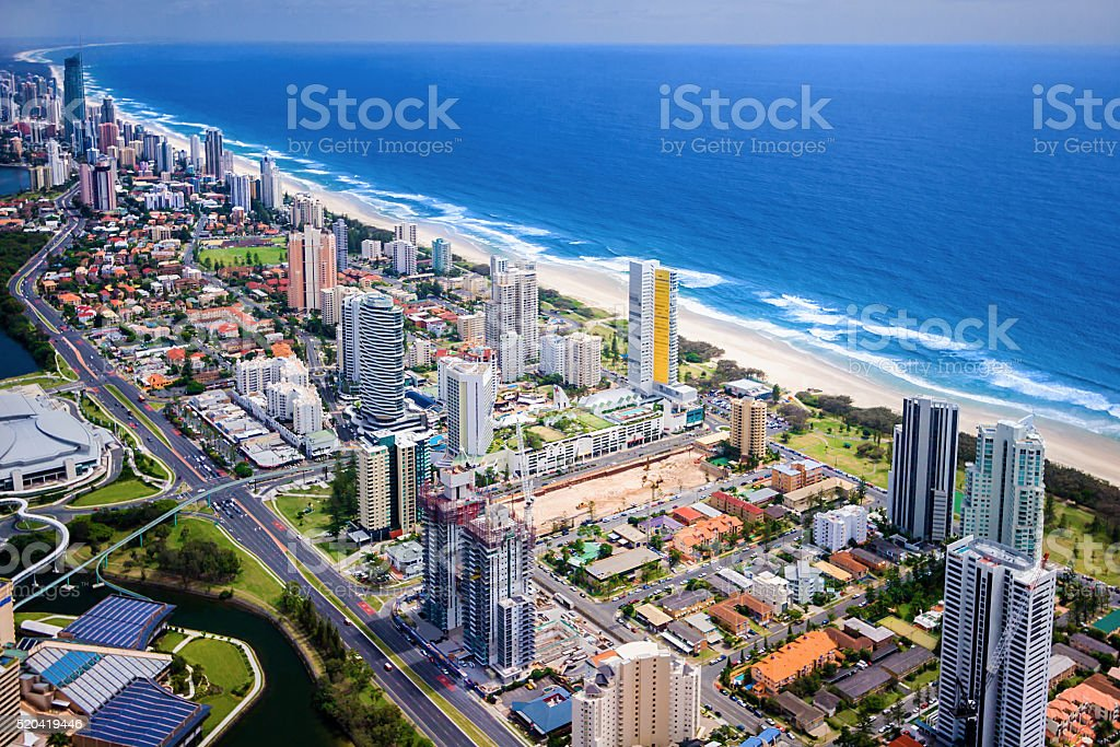 Modern city located on a beautiful coast stock photo