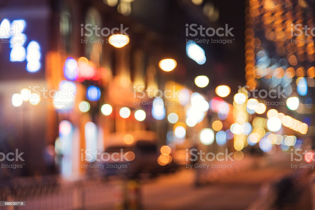 Modern city night lights defocused blurred abstract background stock photo