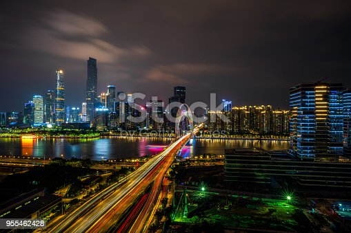 599471112istockphoto Modern city scape, business center, fast developing, night view 955462428