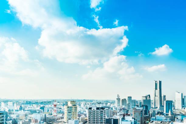moderne Skyline der Stadt in Yokohama, Japan – Foto