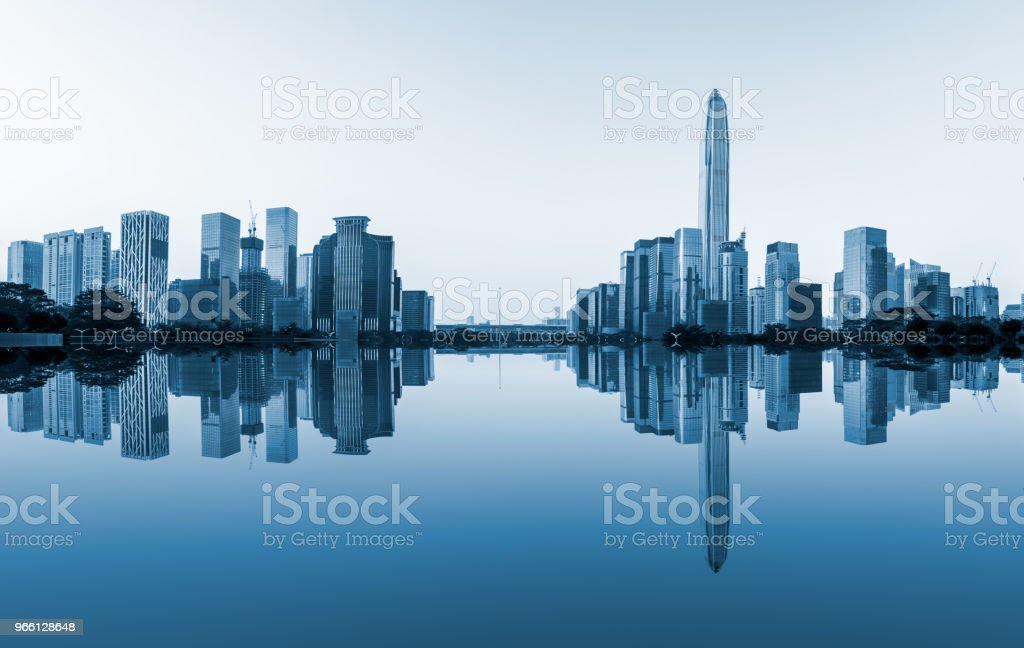 Modern city skyline and water reflection in Shenzhen - Royalty-free Architecture Stock Photo