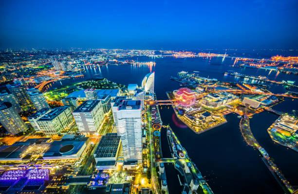 moderne Skyline Nachtansicht in Yokohama, Japan – Foto