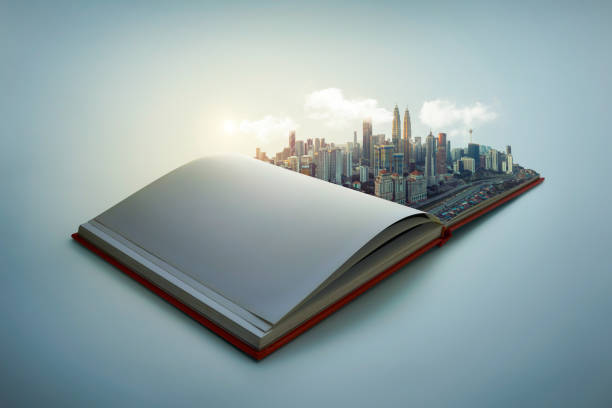 modern city skyline pop up in the open book pages stock photo