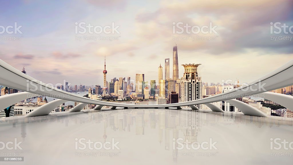 modern city skyline,traffic and cityscape in Shangha,China stock photo