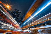 Modern city traffic at night, Hong Kong