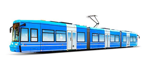 modern city tram isolated on white - linea tranviaria foto e immagini stock