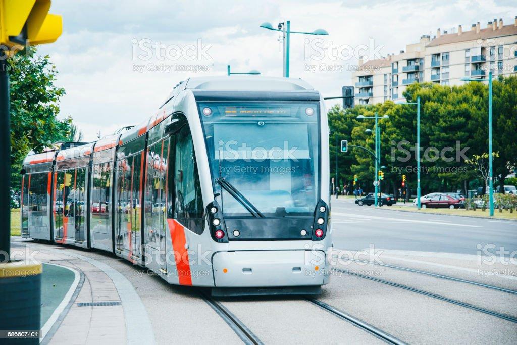 Modern city tram royalty-free stock photo