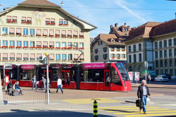 Modern city tram stock photo