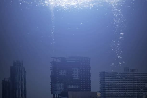 Modern city under the sea Modern city under the sea sunken stock pictures, royalty-free photos & images