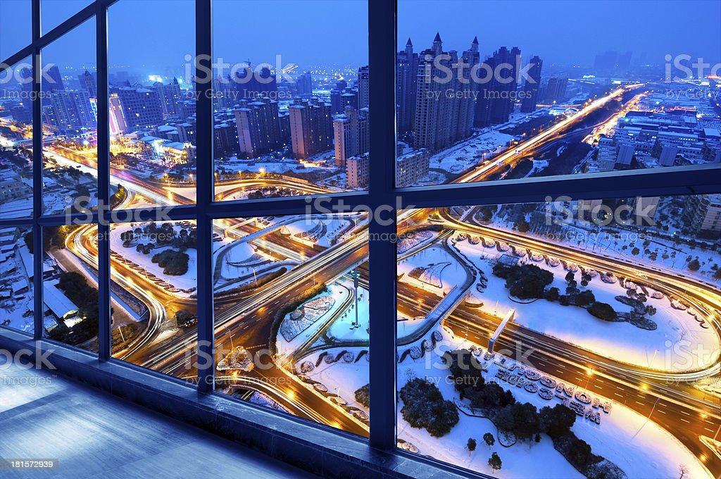 modern city viaduct night Snow royalty-free stock photo