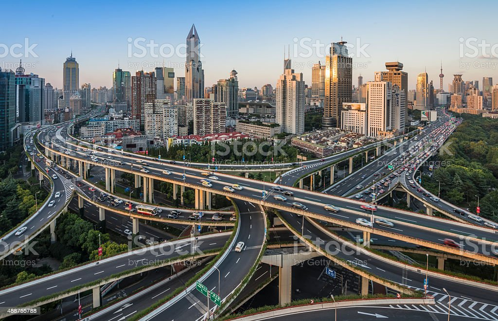 modern city with highway interchange royalty-free stock photo