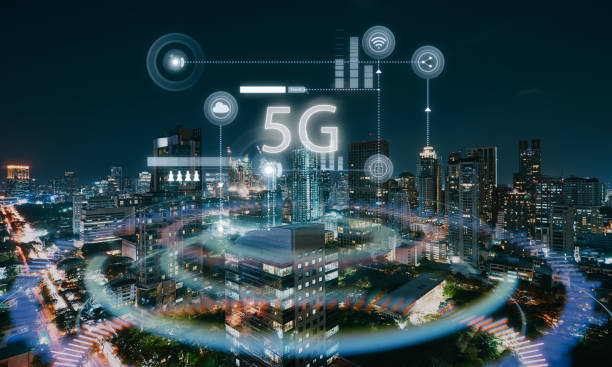Modern city with smart 5G stock photo