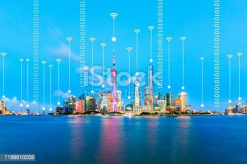 1155541483istockphoto Modern city with wireless network connection concept,Shanghai 1159510203