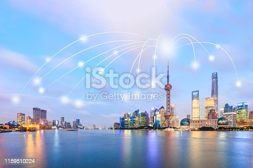 1155541483istockphoto Modern city with wireless network connection concept,Shanghai 1159510224