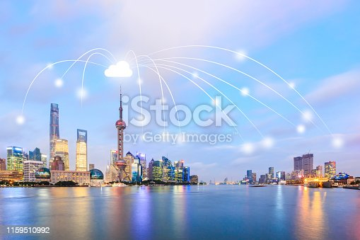 1155541483istockphoto Modern city with wireless network connection concept,Shanghai 1159510992