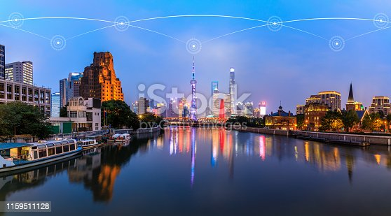 1155541483istockphoto Modern city with wireless network connection concept,Shanghai 1159511128