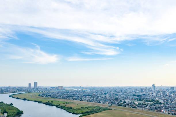 近代的な都市景観空撮。 - 街 日本 ストックフォトと画像