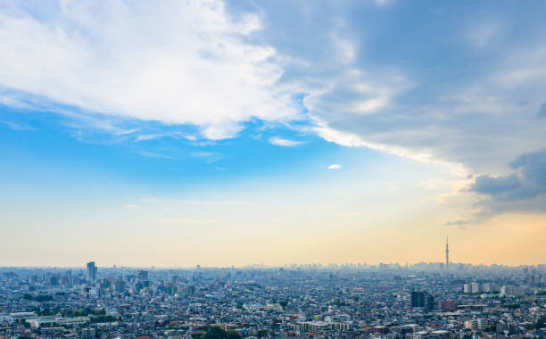 Modern cityscape aerial view. Modern cityscape aerial view. horizon over land stock pictures, royalty-free photos & images
