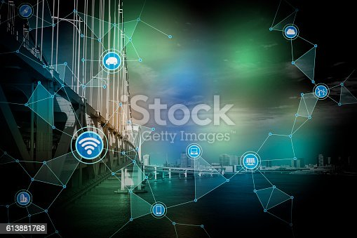 istock modern cityscape and bridge, wireless communication network 613881768