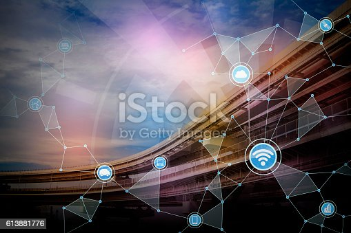 istock modern cityscape and bridge, wireless communication network 613881776