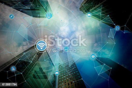 istock modern cityscape and bridge, wireless communication network 613881794