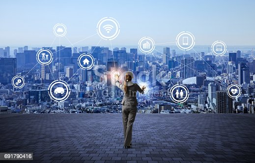 istock modern cityscape and business person, IoT(Internet of Things), ICT(Information Communication Technology), abstract image visual 691790416