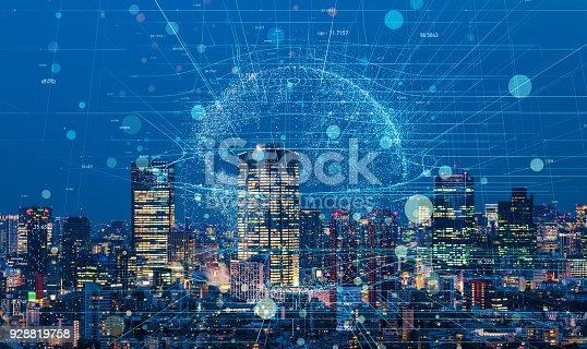 istock Modern cityscape and communication network concept. 928819758