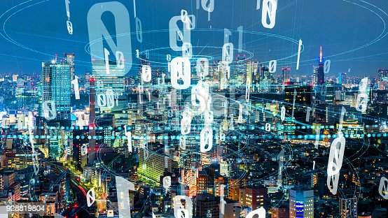 928819758 istock photo Modern cityscape and communication network concept. 928819804