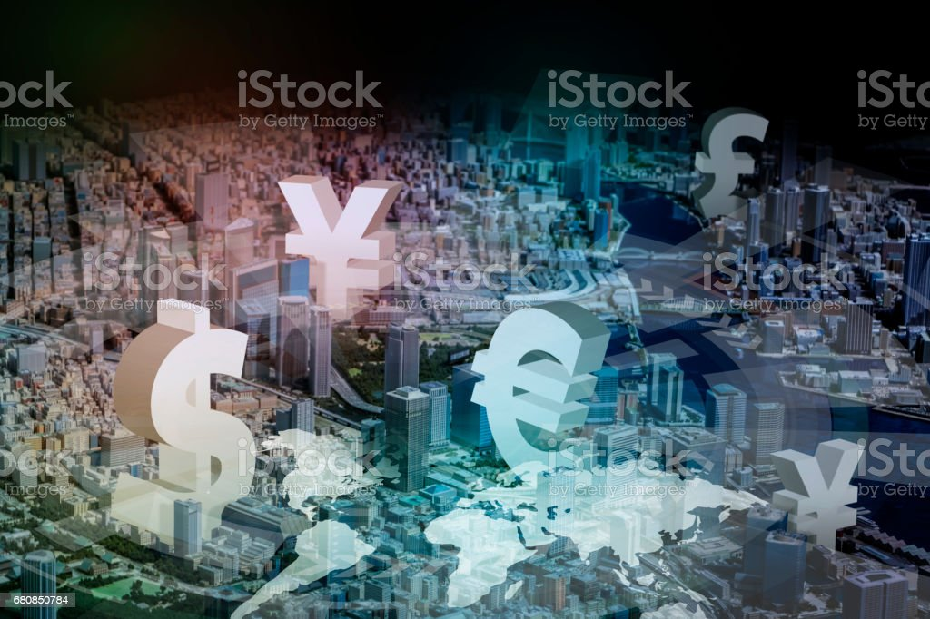 modern cityscape and financial technology concept stock photo