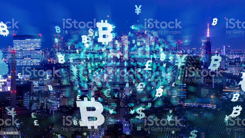 Modern cityscape and financial technology concept. stock photo
