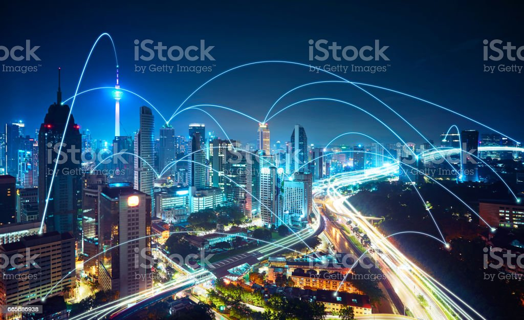 Modern cityscape and network connection concept . stock photo