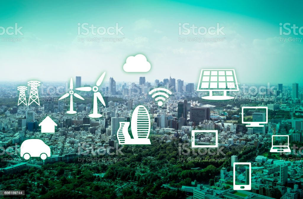 modern cityscape and renewable energy, environment concept image, smart grid, abstract background visual stock photo