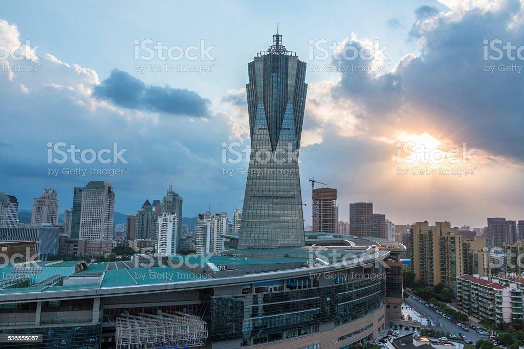 modern cityscape and skyline of hangzhou  at sunset stock photo