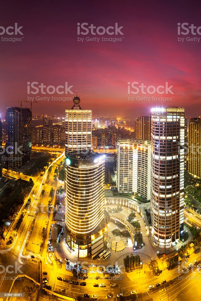 modern cityscape and traffics during night stock photo
