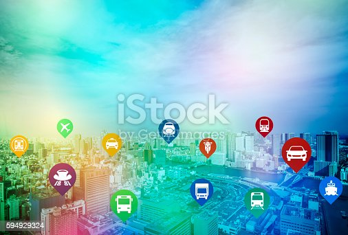 istock modern cityscape and various transportation icons 594929324
