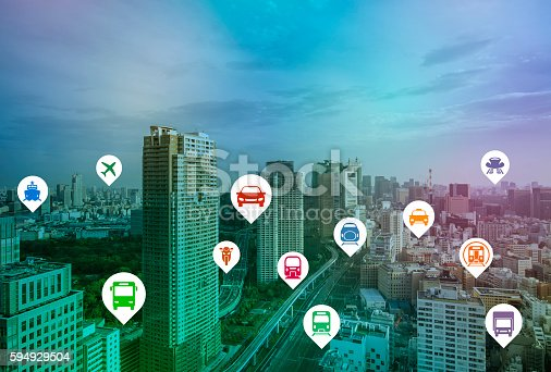 istock modern cityscape and various transportation icons 594929504