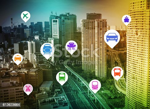 istock modern cityscape and various transportation icons 612623664