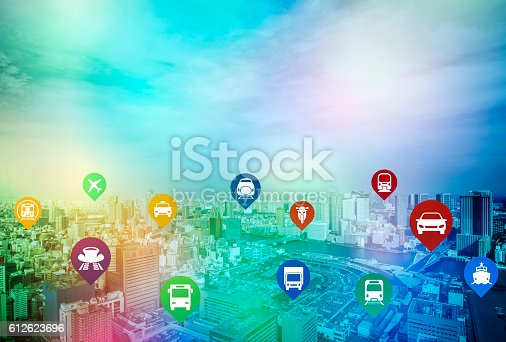 istock modern cityscape and various transportation icons 612623696
