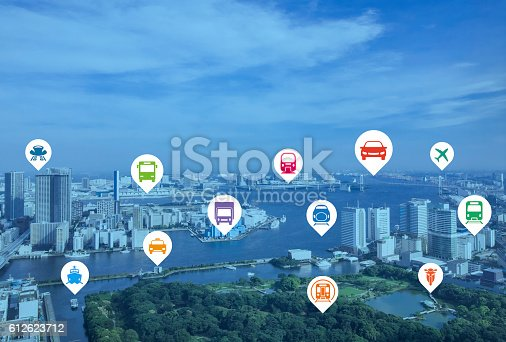 istock modern cityscape and various transportation icons 612623712