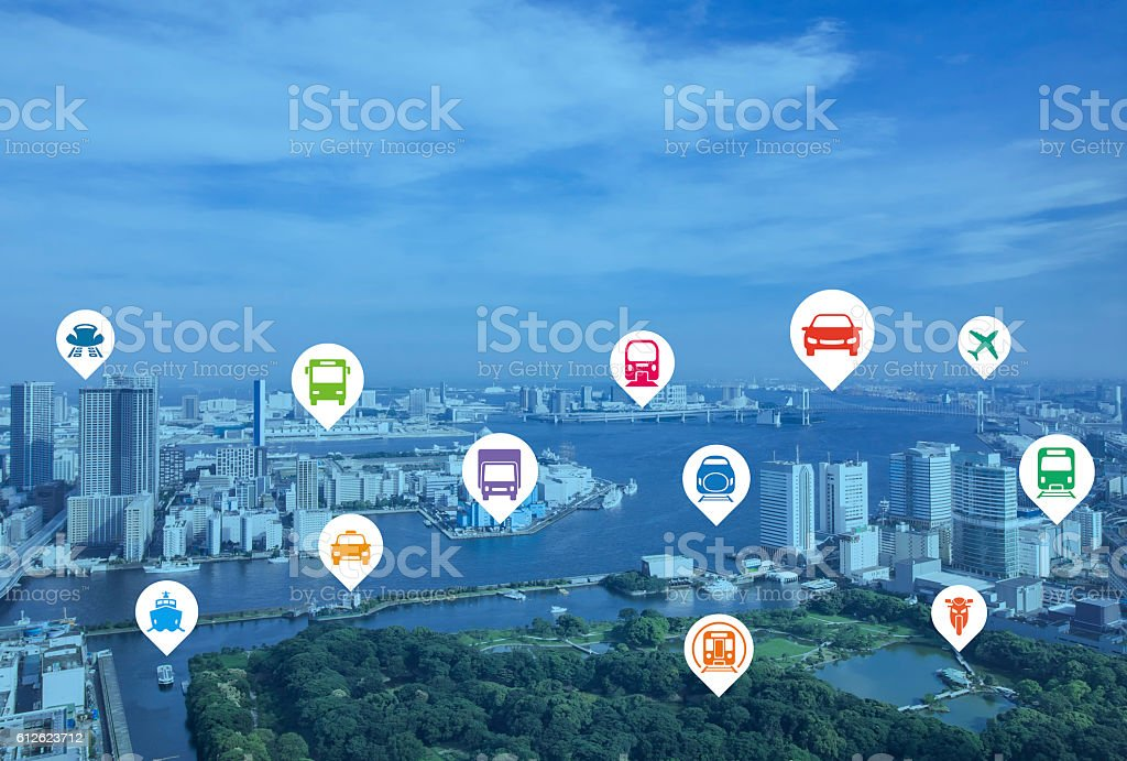 modern cityscape and various transportation icons stock photo